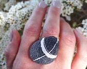 Unusual ring Wabi sabi jewelry Minimalist beach stone jewelry Pebble art Gift idea for her Nature lovers gift Birthday present for her