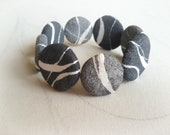 Wabi sabi jewelry Flat round rocks bracelet Sustainable gifts Gray flat pebbles in paper mache Beach stone bracelet Mother's day gift