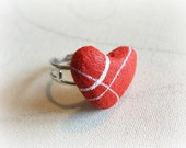 Wife Valentine's day gift Beach stone heart ring Unique jewelry contemporary Red small heart Anniversary gift for wife Birthday present her
