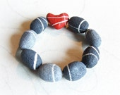 Contemporary bracelet with heart shaped rocks Modern jewelry Unusual Beach stone art Sustainable gifts Anniversary gift Birthday present her