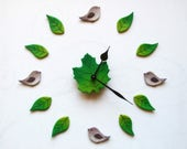 Scandinavian wall clock Yoga wall decal Birds wall art Unusual wall decor nature inspired Gift for therapist office Gift for new home Hygge