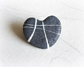 Heart shaped rocks brooch Eco friendly jewelry inspired by nature Heart brooch river pebble Gift for stone collector Love rocks