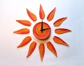 Sun wall clock Modern wall decal Sunburst home decor Original gift idea for home Gift for an artist and art lovers Home gifts personalized