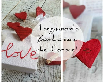 Wedding Placeholder with Plantable Paper Hearts Wedding Theme Love Bomber in Sowing Paper Original Placeholders with Seeds