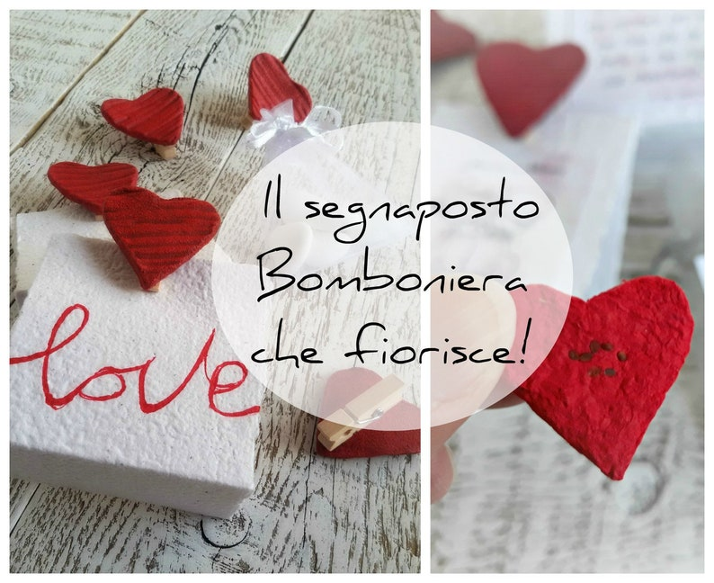Wedding Placeholder with Plantable Paper Hearts Wedding Theme image 0
