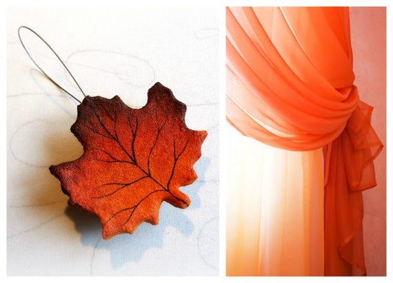 Embrasses aimant Leaf Maple pour rideaux Orange rideaux | Etsy
