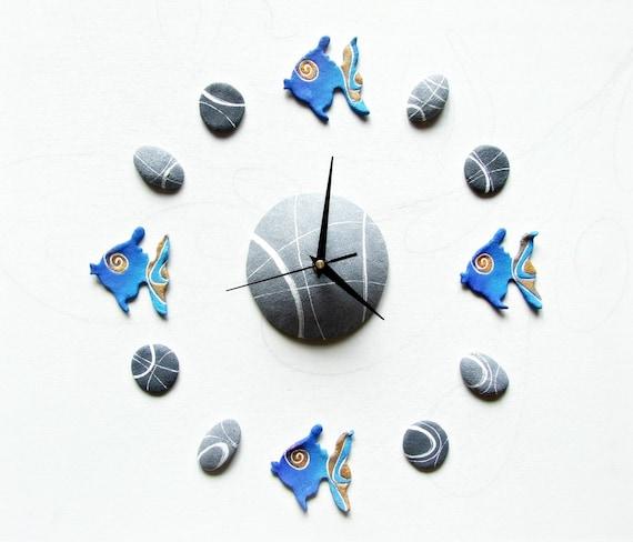 Orologio da parete azzurro orologio particolare con pesci for Orologi da parete adesivi
