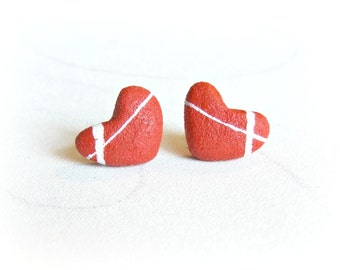 Heart rock earrings Heart of stone shaped jewelry Little heart red Present for girlfriend Mother's day gift for wife Anniversary gift idea