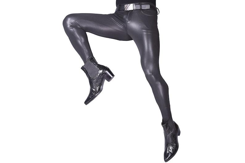406526e7f0ac0 LinvMe Men's PU Black Long Pants Stretch Trousers Skinny   Etsy