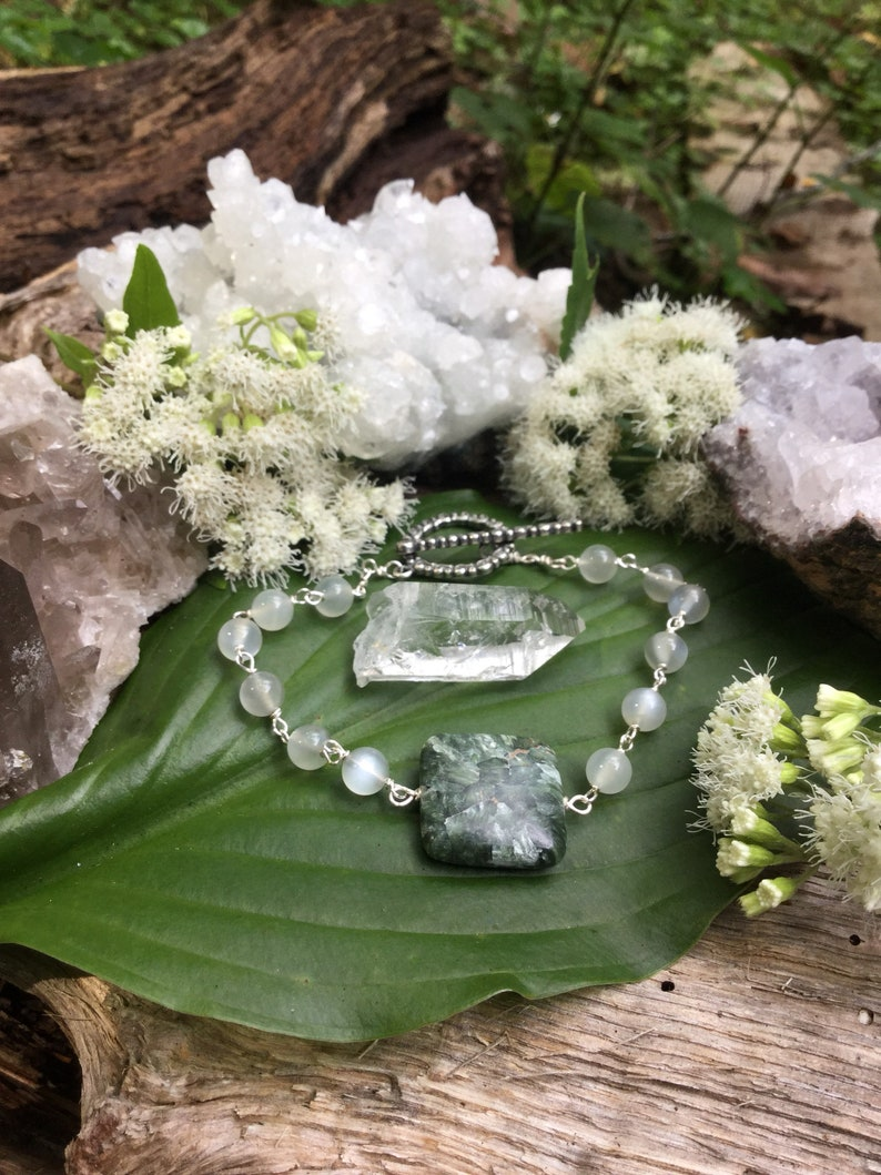 Silver Beaded Bracelet Moonlight /& Moss Bracelet One of a Kind Silver Bracelet Seraphinite Bracelet Moonstone Bracelet Crystal Bracelet
