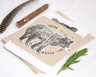 Printable Man Cub Birthday Invitation Suite - Bear Invitation