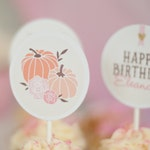 Printable Cupcake Toppers - Our Little Pumpkin Party - Birthday