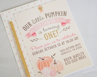 Our Little Pumpkin Birthday Invitation - First Birthday Invitation, Pumpkin, Girl Birthday Invitation