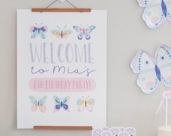 Butterfly Welcome Sign - Birthday Poster - Flutter