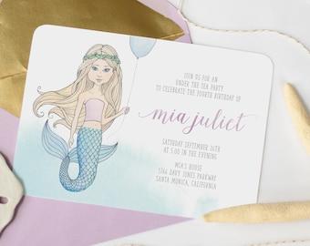 Mermaid Birthday Invitation - Under The Sea, Girl Birthday Invitation