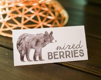 Printable Bear Food Labels - Man Cub Birthday - watercolor - menu cards - food tents