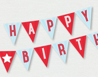 Printable Happy Birthday Banner - Aviation Party