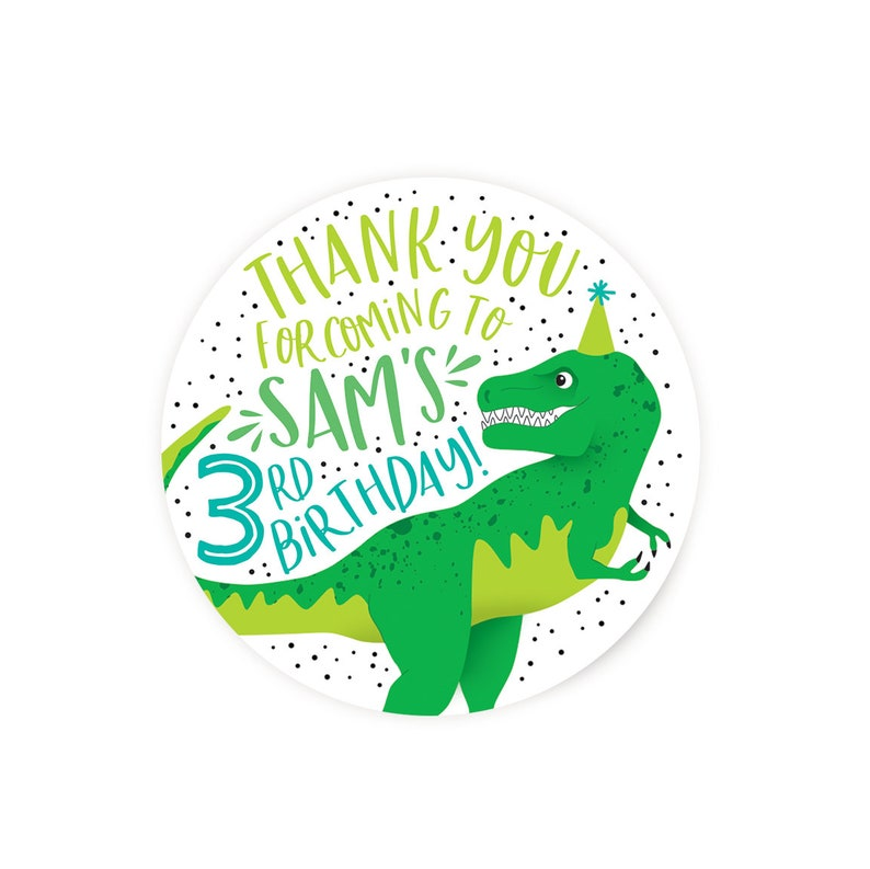Dinosaur Favor Sticker  Favor Tag image 0