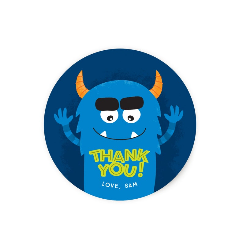 Monster Favor Sticker  Favor Tag image 0