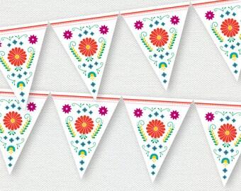 Printable Banner - Fiesta - Mexican Flowers