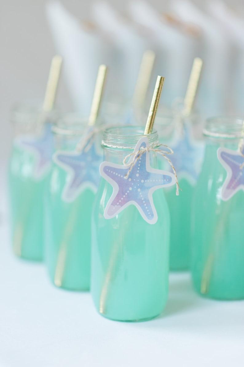 Printable Starfish Tags  Mermaid Party  drink tags image 0