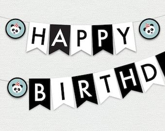 Printable Happy Birthday Banner - Panda Party