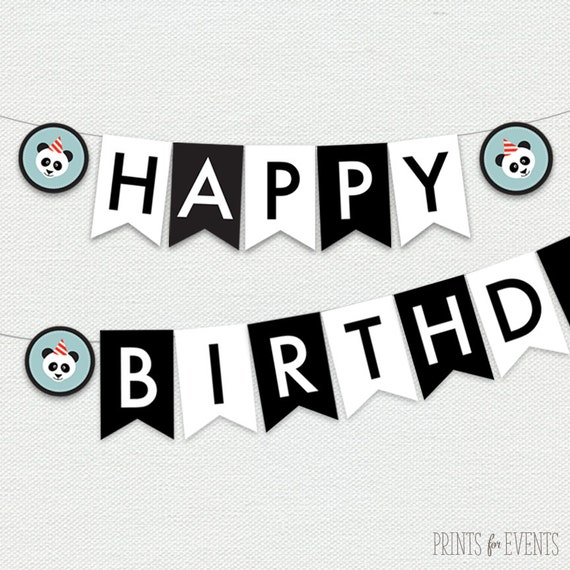 photograph relating to Printable Happy Birthday Banner named Printable Delighted Birthday Banner - Panda Occasion via Prints For