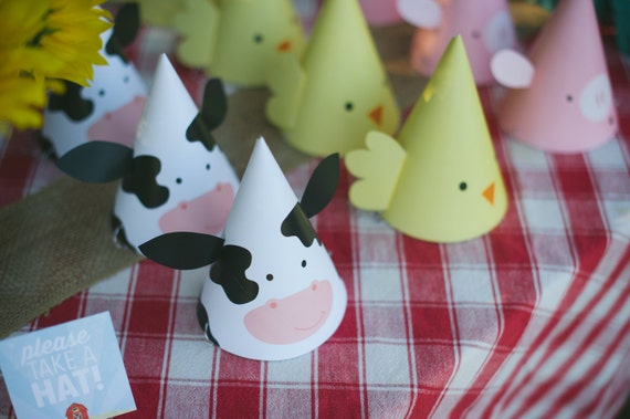 picture regarding Printable Cow Hat titled Printable Bash Hats - Farm Animal Birthday Get together - Cow Hat