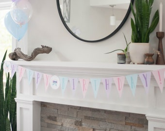 Butterfly Party Banner - Instant Download - Happy Birthday Garland