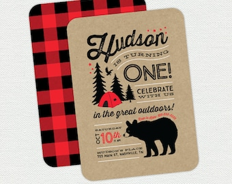 Printable Great Outdoors Birthday Invitation - Lumberjack - Camping