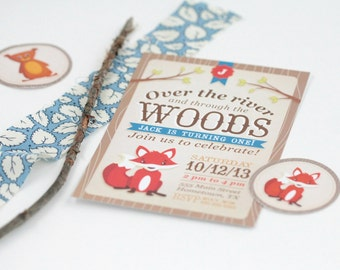 Woodland Fox Birthday Invitation - First Birthday Invitation, Woodland, Boy Birthday Invitation, Girl Birthday Invitation