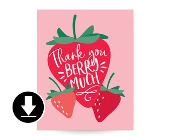 Instant Download - Thank You Sign - Berry Sweet Birthday