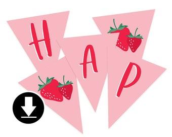 Instant Download - Happy Birthday Banner - Berry Sweet Birthday