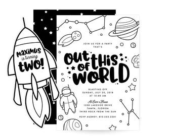 Out Of This World Birthday Invitation - space theme
