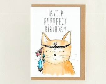 Eclectic greeting cards by thepaisleyfive on etsy have a purrfect birthday greeting card custom goodbye get well i miss you pet thank you sorry good luck crazy cat lady australia m4hsunfo