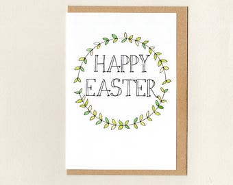 HAPPY EASTER . greeting card . easter card . green white . simple wreath woodland rustic . Christian . australia