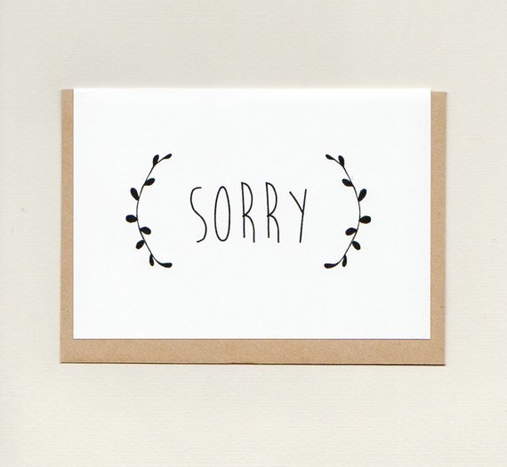 Sorry Greeting Card Apology Sympathy Im Sorry Etsy