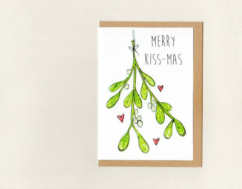 Auguri Di Natale Per Il Marito.Natale Bacio Mas Cartolina D Auguri Vischio Scheda Di Etsy