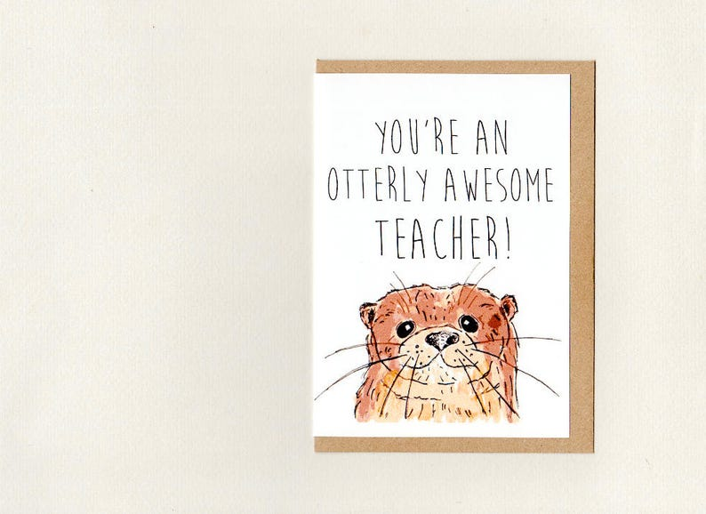 greeting card australia custom bestie teacher otter otters friendship thank you thinking of you You/'re an OTTERY AWESOME FRIEND