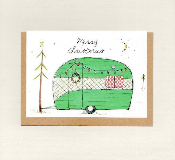 Christmas Camping Australia.Merry Christmas Greeting Card Christmas Card Holidays Card Green Vintage Retro Caravan Camper Trailer Camping Eco Australia