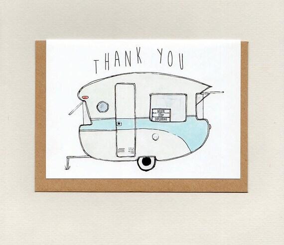 Danke Grusskarte Mini Druck Retro Vintage Wohnwagen Camping Etsy