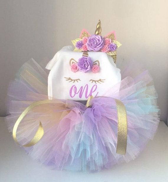 Baby Girl First 1st Anniversaire tenue robe tutu Cake Smash Party violet One