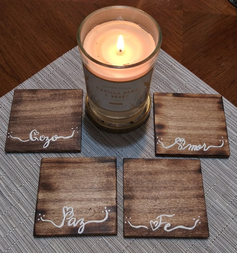 Inspirational Quotes Fired Edge Unique Lettering Padded Amor Gozo Fe Paz Spanish Wood Coasters Free Shipping Made in USA Hand Painted