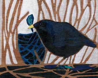 Collaged Bowerbird print