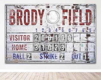 Custom Baseball Scoreboard Sign Vintage Distressed Rustic Canvas Industrial Game Room Media Nursery Kids boys Room Decor