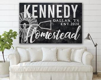 Last Name Sign, Homestead Sign, Farmhouse Sign, Custom Name Sign, Family Name Sign, Canvas Print, Farmhouse Decor
