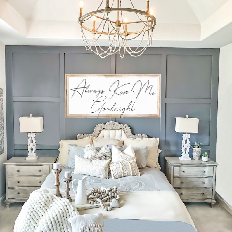Always Kiss Me Goodnight Sign  Custom Canvas Printed Sign  image 0