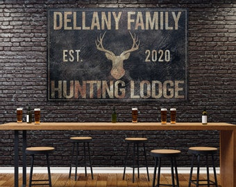 Deer Hunting Sign, Hunting Lodge, Farmhouse Sign, Custom Canvas Sign, Family Name Sign, Farmhouse Decor, Hunting Lodge, Man Cave