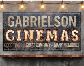 Last Name Sign, Cinema Sign, Farmhouse Sign, Custom Name Sign, Family Name Sign, Canvas Print, Farmhouse Decor, Movie Room Sign, Media Room