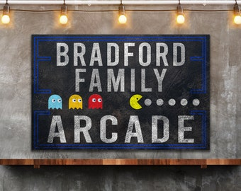 Last Name Sign, Game Room Sign, Farmhouse Sign, Custom Name Sign, Family Name Sign, Canvas Print, Farmhouse Decor, Arcade Sign, Poker Room